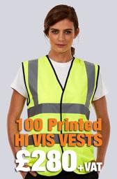 100 Printed Hi Vis Vests Deal